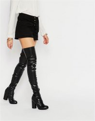 Jeffrey Campbell Black Stretch Heeled Over The Knee Boots Black stretch pu