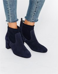 Faith Briony Navy Suede Heeled Sock Boots Navy suede