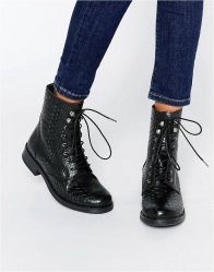 Pieces Ibi Croc Print Leather Lace Up Worker Boots Black croc