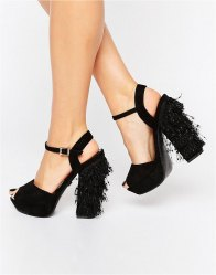 Daisy Street Tassle Platform Heeled Sandals Black mf