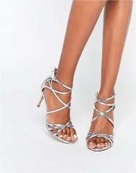Head Over Heels By Dune Minita Silver Strappy Heeled Sandals Silver pu