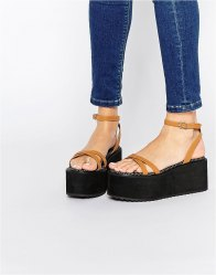 ASOS TIP TOP Barely There Flatform Sandals Tan