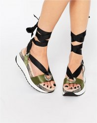 KG By Kurt Geiger Tie Up Flatform Sandals