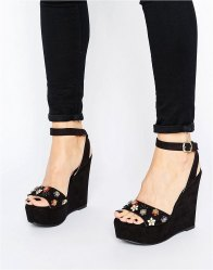 Glamorous Embellished Wedged Heeled Sandals