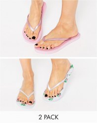 ASOS FRIENDLY Two Pack Flip Flops και pink