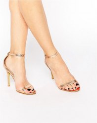 Glamorous Gold Patent Two Part Heeled Sandals Rose gold