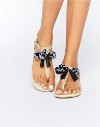 ASOS FRUIT LOOP Pom Sandals Natural