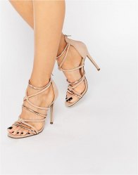 Missguided Knot Front Heeled Sandal Rose