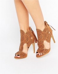 Missguided Lazer Cut Heeled Sandals Tan