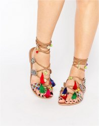 Glamorous Embroidered Gladiator Charm Sandals Multi