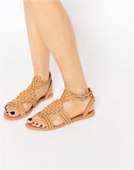 ASOS FAN Leather Woven Flat Sandals Tan
