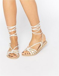 ASOS FEELING Leather Tie Leg Flat Sandals Natural