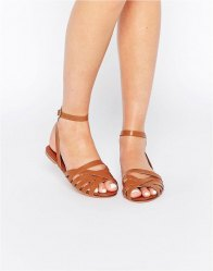 ASOS FIFI Woven Leather Sandals Tan