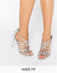 ASOS HOME και AWAY Wide Fit Caged Heeled Sandals
