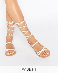 ASOS FINDER'S KEEPERS Wide Fit Leather Lace Up Sandals