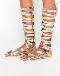 ASOS FLYWAY Leather Knee High Gladiator Sandals