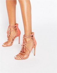 ALDO Catarina Coral Heeled Strappy Tassel Sandal Light pink