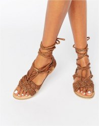 Missguided Leather Tie Up Plait Sandal Tan
