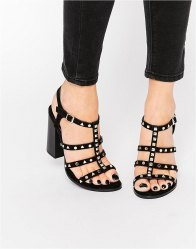 Call It Spring Perren Chunky Studded Heeled Gladiator Sandal Black synthetic