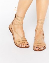 Pull Bear Leather Lace Up Flat Sandal Leather
