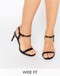 Faith Wide Fit Dolly Black Barely There Heeled Sandals Black pu