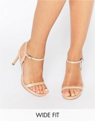 Faith Wide Fit Dolly Nude Barely There Heeled Sandals Nude patent
