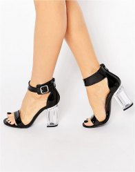 Public Desire Trinity Buckle Clear Heel Sandals patent