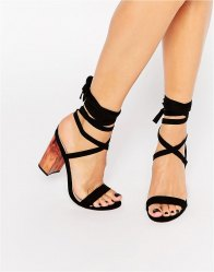 ASOS HANDFUL Lace Up Heeled Sandals