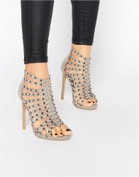 Glamorous Grey Studded Caged Heeled Sandals Grey micro suede