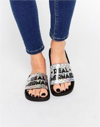TheWhiteBrand Irredescent Real Mermaid Slider Flat Sandals Multi