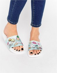 TheWhiteBrand Emoji Slider Flat Sandals Multi