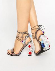 Daisy Street Pom Pom Tie Up Heeled Sandals Dark holographic gre