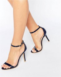 Glamorous Navy Patent Two Part Heeled Sandals Navy patent