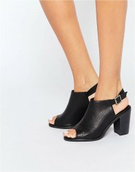 Glamorous Mule Sling Black Heeled Sandals Black perf