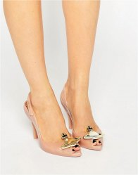 Vivienne Westwood for Melissa Lady Dragon Nude Orb Sling Heeled Sandals Nude orb