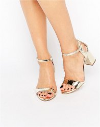 Carvela Ankle Strap Mid Flared Heeled Sandals Gold synthetic