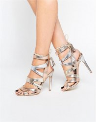 Miss KG Frenchy Metal Metallic Caged Heeled Sandals