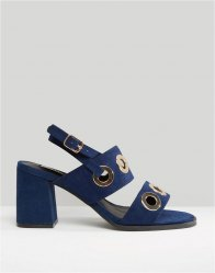Lost Ink Polar Navy Eyelet Detail Mid Heeled Sandals Navy