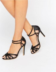 True Decadence Black Glitter Ankle Strap Heeled Sandals Black glitter