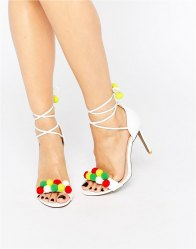 Public Desire Salma Multi Bobble Heeled Sandals White multi