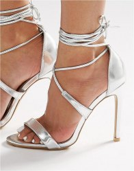 True Decadence Silver Metallic Ankle Tie Heeled Sandals Silver metallic