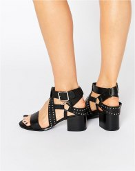 Senso Mindy Black Leather Studded Harness Sandal Ebony
