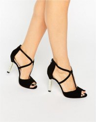 Dune Melody Cross Strap Suede Heeled Sandals Black suede