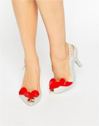 Vivienne Westwood for Melissa Lady Dragon Pearl Red Cherub Sling Heeled Sandals Pearl red cherub
