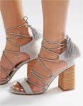 ASOS TACT Lace Up Tassel Heeled Sandals