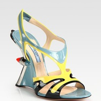 Prada - Patent Leather Tail Light Wedge Sandals