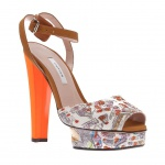 Carven Paris Map Print Neon Heel High Sandals