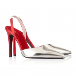 Giambattista Valli Mirrored-leather and satin slingback pumps
