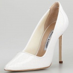 Manolo Blahnik BB Perforated Patent Pump, White