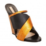 Narciso Rodriguez Python Criss-Cross Wedge Sandal
